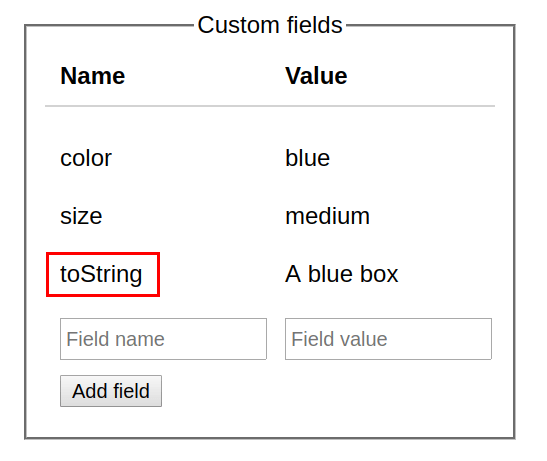 Custom fields User Interface
